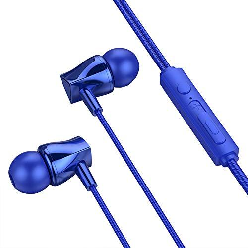 EKIND Headphones Wired Earbud HiFi Stereo Earphones with Microphone and Volume Control for Mobile Phones Tablet (Blue)