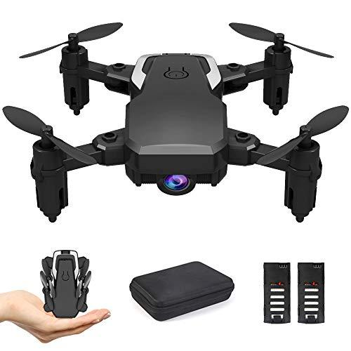 B-Qtech Mini Drone with Camera HD 1080P, Foldable RC Quadcopter, Optical Flow Fixed Height, Altitude Hold Headless RTF 360 Degree FPV Video WiFi 4-Axis Gyro 2 Batteries.