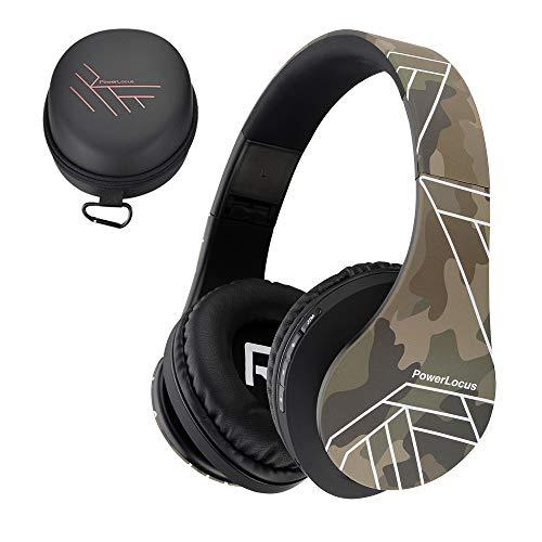 PowerLocus Bluetooth Over-Ear Headphones, Wireless Stereo Foldable Headphones Wireless and Wired Headsets with Built-in Mic, Micro SD/TF, FM for iPhone/Samsung/iPad/PC (Camouflage)