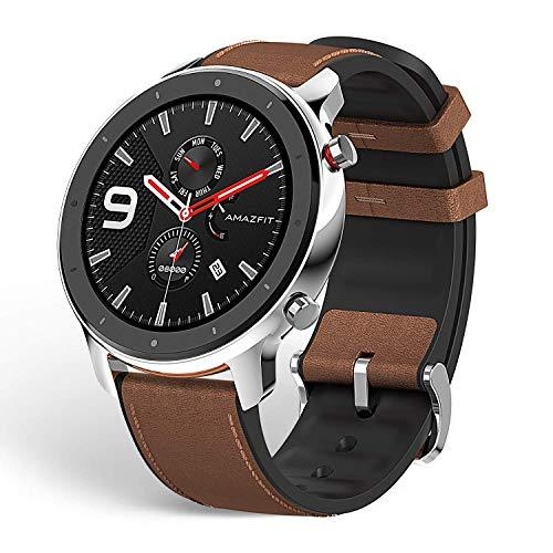 "Amazfit GTR Smartwatch Smart Notifications 1.39"" AMOLED Display 24/7 Heart Rate Monitor 24-Day Battery Life 12-Sport Modes 47mm GPS Bluetooth Stainless Steel"