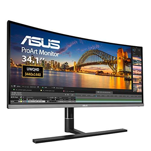 ASUS ProArt PA34VC 34.1-inch, UWQHD Curved Professional Monitor, 1900R Curvature, HDR-10, 100% sRGB, Color Accuracy, Hardware Calibration, Thunderbolt 3