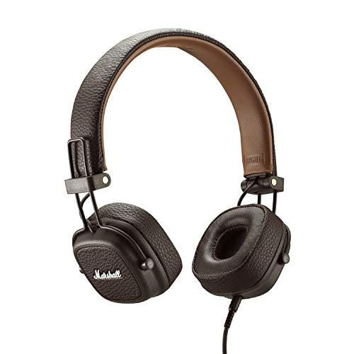 Marshall Major III Wired Headphones, Wired On-Ear Headphones, with Collapsible Design and Detachable 3.5mm Remote and Microphone Cord, Brown