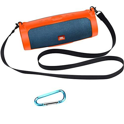 Esimen Silicone Case for JBL Charge 4 Bluetooth Speaker Cover Travel Sleeve Bag with Shoulder Strap and Carabiner (Orange)