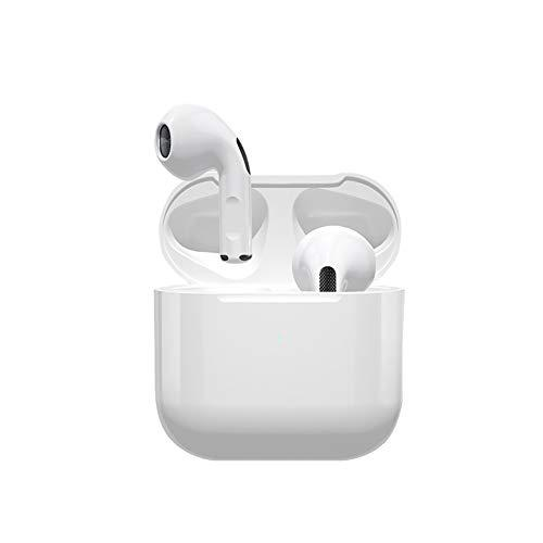 Wireless Earbuds 2020 Mini PRO 4, One-Step Pairing Bluetooth 5.0 Sport Headset, Hi-Fi Stereo in Ear Earphones, Noise Cancelling Headphones with Charging Case Waterproof for Running/Gym, Built-in Mic (White, Wired charging case)