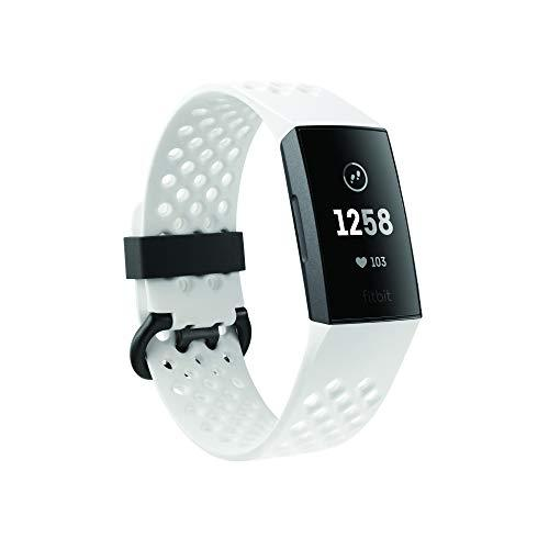 Fitbit Charge 3 Health and Fitness Tracker – Graphite/White Silicon