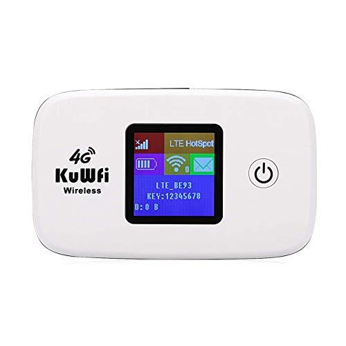 KuWFi 4G LTE Mobile WiFi Hotspot Unlocked Wireless Internet Router Devices with SIM Card Slot for Travel Support Optus/Telstra/Virgin Mobile/Vodafone