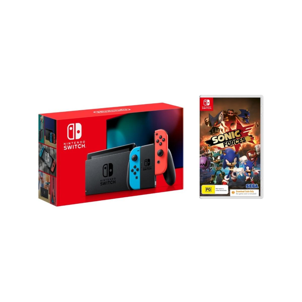 Nintendo Switch Console Neon + Sonic Forces Download Code Bundle