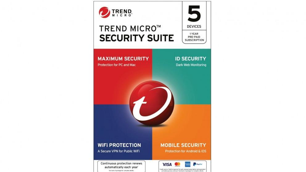 Trend Micro Security Suite Digital Download – 1 Year for 5 Devices