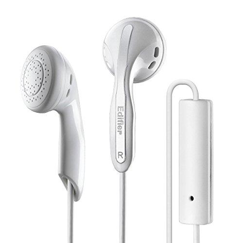Edifier P180 HiFi in-Ear Headphones with Microphone and Inline Control – Classic Stereo Flat Earbuds Wired Lightweight Basic Earphones for Apple iPhone Samsung HTC Nokia – White