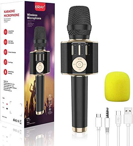 Wireless Karaoke Microphone, 5 in 1 Bluetooth Handheld Karaoke Mic Speaker, Portable Microphone Compatible with iOS, Android, Laptop, PC(Black)