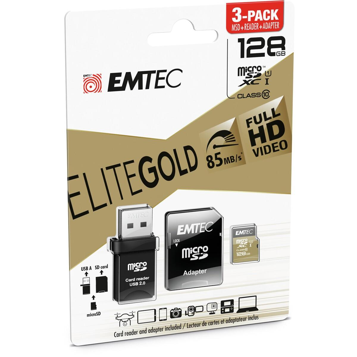 Emtec 128GB MicroSDXC Class 10 Gold With USB 2.0 Reader & Memory Card Adapter