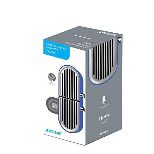 Astrum TW200 Wireless Portable Lightweight, 3D Surround Sound TWS Stereo Speaker, 5-Hour Playtime, 2 in 1 Individual Speaker, Bluetooth 5.0 & 2 Passive subwoofer. Magnetic Connect & Detach tech(Blue)